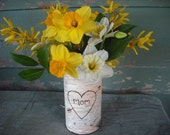 "Handmade in NH. Birch bark covered glass vase, engraved with ""Mom""."