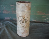 9 inch birch vase customized with your initials and a date