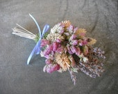 Shabby Chic all Natural dried flower corsage available in wrist or pin on for a spring, garden, rustic, nature themed wedding.