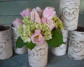 5 Birch bark covered glass vases.  Personalized with a heart and your initials for your woodland, rustic, nature Wedding