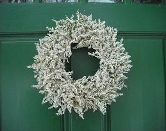 "14"" Handmade German Statice dried flower wreath, simple and pretty."