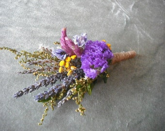 Boutonniere made  with fragrant Sweet Annie and Lavender. With twine covered stem.