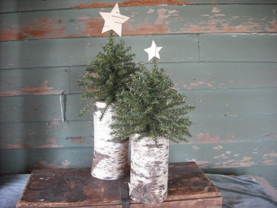 2 Woodland  Christmas trees on birch logs with birch bark star.