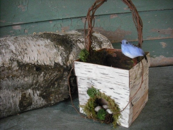 Birch bark and Moss Flower Girl Basket with blue bird and eggs, for your nature fairytail wedding.
