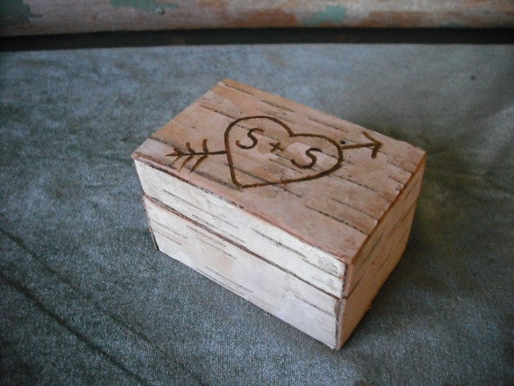 Birch bark and moss jewelry or ring box. Personalized with your initials. For your Valentine or wedding.