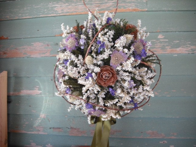 dried flower bridal bouquet ball by nhwoodscreations on etsy