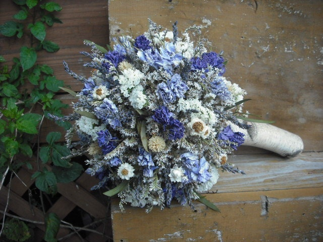 dried flower bridal bouquet with birch holder by