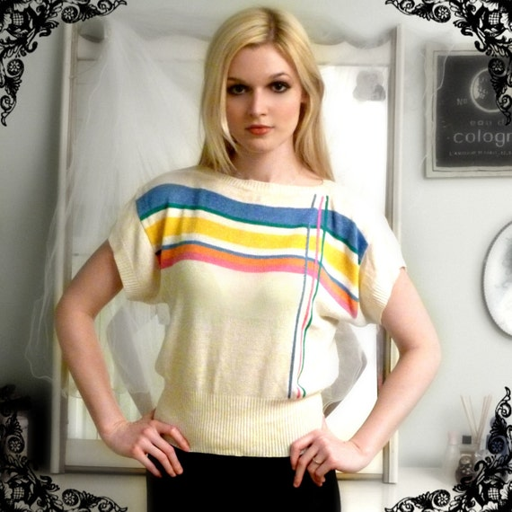 70s-80s Dolman Sweater Top with Rainbow Stripes Size S