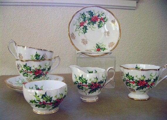 Vintage Christmas Tea Set Queen Anne Bone China Yuletide