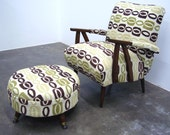 Mid Century Modern Arm Chair with Ottoman Chartreuse and Brown Retro Look Fabric