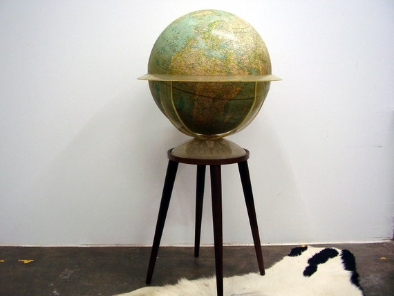 1962 National Geographic Replogle Vintage Globe  Wooden Stand