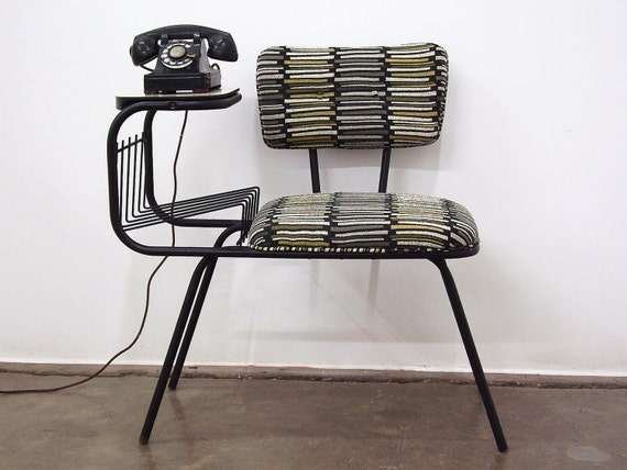 Vintage Mid Century Wrought Iron Gossip Telephone By