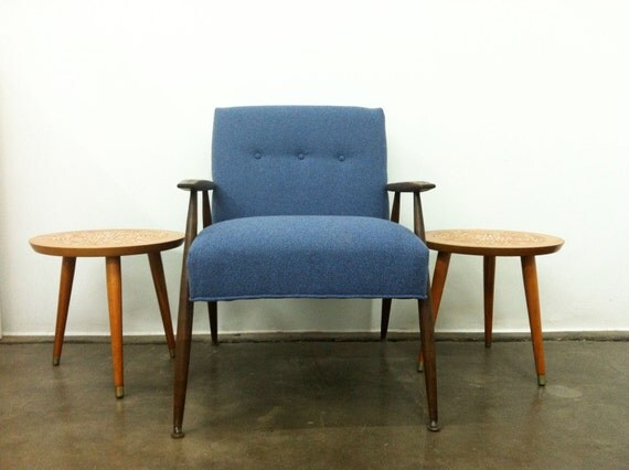 Blue 1960s Mid Century, Retro, Vintage, Lounge Chair Herman Miller Fabric