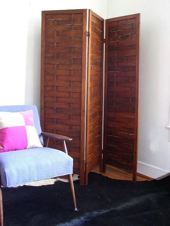 Vintage Wooden Panel Screen Room Divider