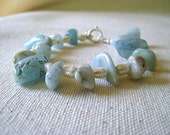 Silver and Cold. Freshwater Pearl and Aquamarine Bracelet