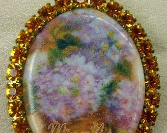 VASE Of HYDRANGEAS Periwinkle Blue Lavender Flowers Brass Locket Pendant Porc Cameo Necklace Glass Rhinestones Miss-art SparklingTreasures2U