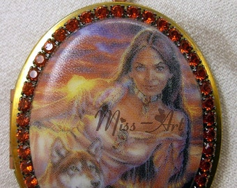 Native American Indian Lady With Wolf Brass Locket Pendant Porcelain Cameo Solid Chain Necklace Rhinestones Miss-art SparklingTreasures2U