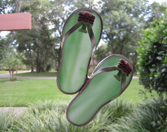 Mint Green Chocolate Cake Flipflop Suncatcher