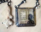 Indigene. Rustic Gypsy Collage Necklace.