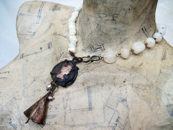 Free Shipping Sale. Elizabeth. Rustic Gypsy Victorian Tribal Choker with Found Objects.