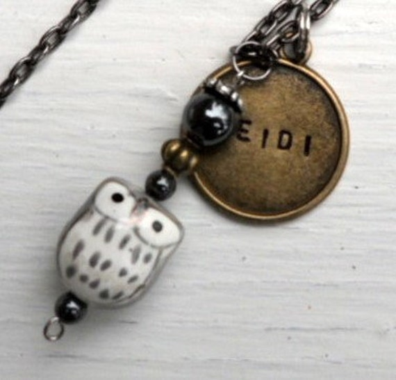 Owl MAX Obsessed by Owlets Handstamped Personalized Necklace Gunmetal Grey