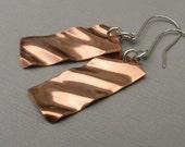 Rectangular Copper Earrings - Ripple Texture