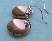 Round Copper Disc Earrings Small