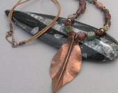 Rustic Copper Leaf and Stone Necklace
