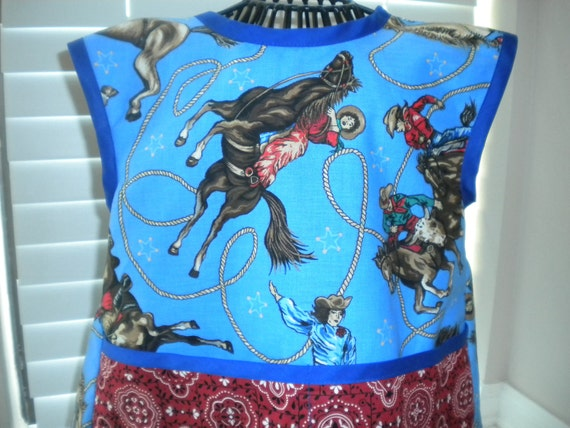 Cowboy,Cowgirl Apron or Smock, Trimmed in Blue. Size2t-4t.