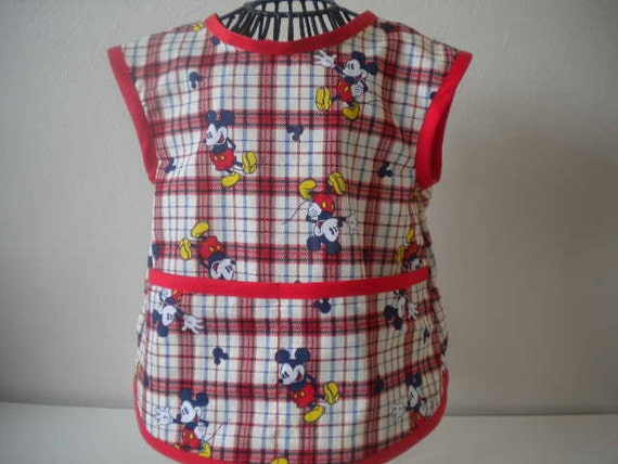 Mickey Mouse Smock or Apron Trimmed in Red. Size 2t-3t