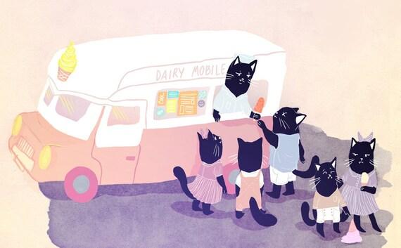 Dairy mobile glossy postcard print