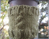 Cabled Moss Green Coffee Cozy - SALE - 30 PERCENT OFF
