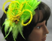 Lime Green with Twirling Biots  Kentucky Derby or Wedding Feather Fascinator