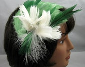 Blooming White on Green Feather Fascinator Kentucky Derby Wedding Hat