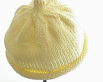 Hand Knit Baby Hat, Hand Knitted Baby Hat, Hand Knit Hat, Baby Hat Size 6 months, Yellow Knit Hat, Baby Shower Gift, Hand Knitted Hat