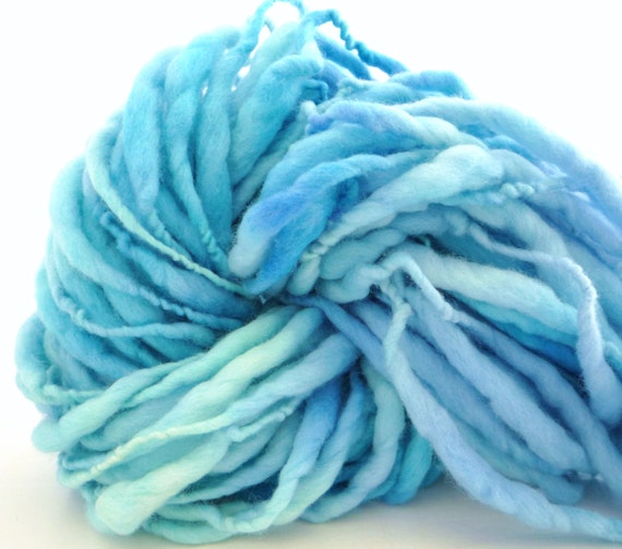 Storybook Fibers FairyTale Dragon Extreme Thick and Thin Hand Spun Yarn Blue 52 yds 4.4 ozs