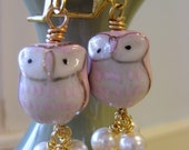 Owl Melt With You Porcelain Owl and Pearls Dangles Owl Melt With You.