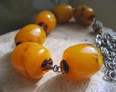 Butter Rum beaded bracelet, vintage lucite, wire wrapped, silver chain, chunky, bold