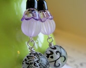 Sweet Lilac dangle earrings,Lucite and enamel