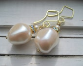 Pearl nugget earrings, 14k gold artisan ear wires, vintage Lucite pearls, rhinestone, bridal, bridesmaid accessory