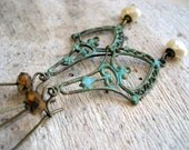 Edelweiss Dangle Earrings Patina Brass Freshwater Pearl and Bronze Faceted Czech Glass