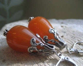 Tears of Honey. Amber Acrylic and Antique Silver Drop Earrings