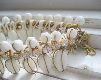I Do wedding bracelet, bridal cuff, vintage Miriam Haskell rhinestone Czech glass, bridesmaids, summer wedding  accessory,