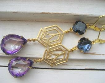 Erte Deco earrings,  vintage jewel dangle earrings, 20s fashion jewelry