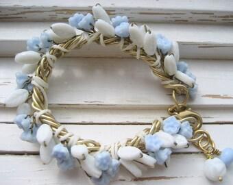 Something Blue Bridal bracelet, wrap bracelet, vintage beaded bracelet, romantic gift for her