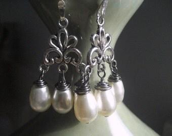 Blanca Pearl Earrings, bridal earrings, bridesmaids accessory, Antique Silver Chandelier