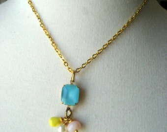 Portofino Charm Necklace Gold Chain , vintage beads, pearl dangle, Gift for her under 20