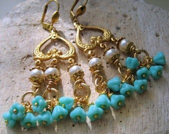 Long Dangle Earrings.Vintage Brass Pearl Turquoise CzechFlower, bridal accessory, bridesmaids, Carlena. Gift for Her Under 25.