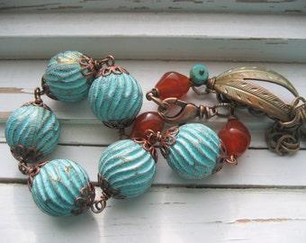 Voodoo beaded bracelet, chunky bracelet, wire wrapped bracelet, tribal style
