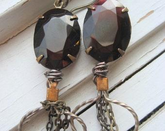 Oxblood, deep garnet dangle earrings, steam punk chain earrings, vintage glass jewels, artisan silver ear wires